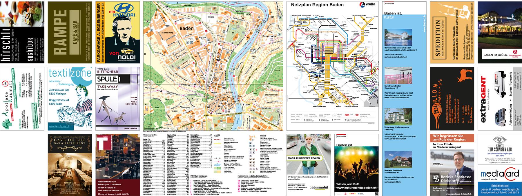 Stadtplan Baden Rückseite