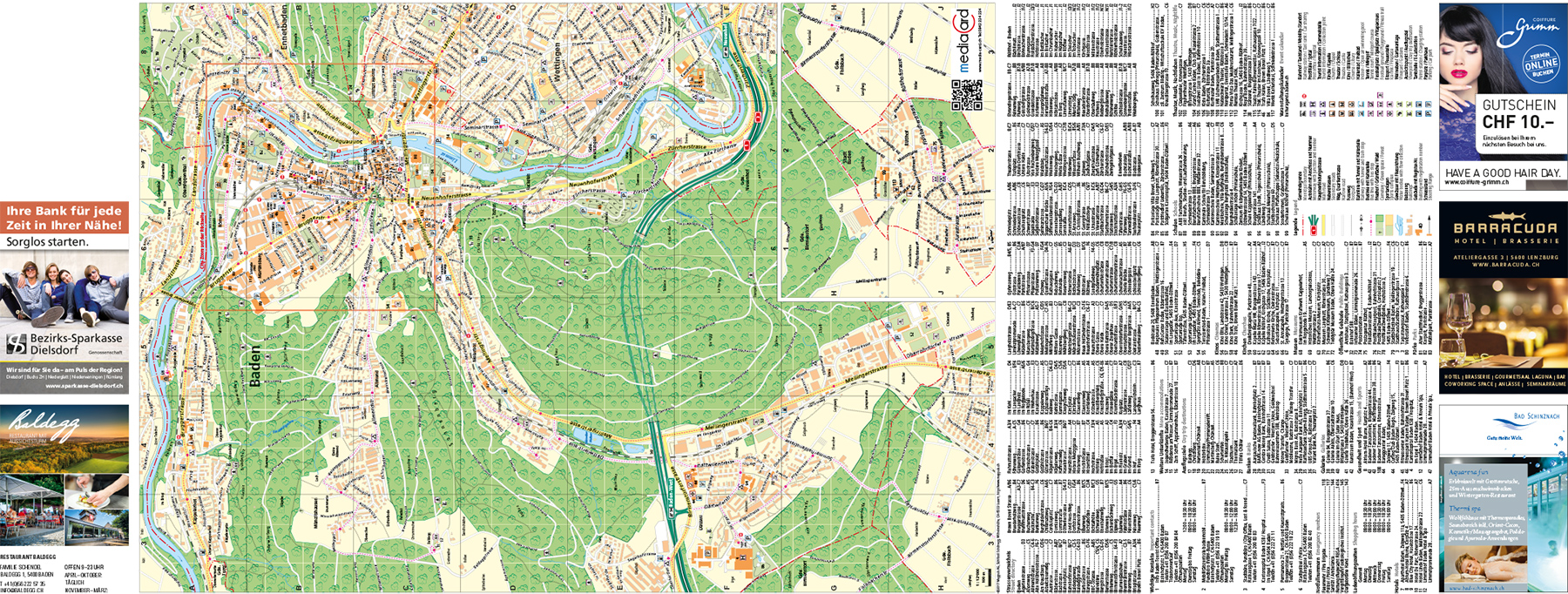 Stadtplan Baden Vorderseite